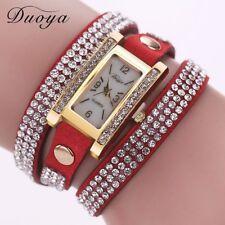 Casual Women's Crystal Watches Rhinestone Leather Bracelet Quartz Wrist Watch