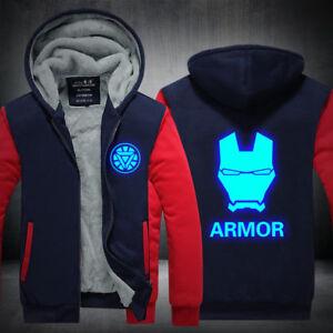 The Avengers Iron Man Hoodie winter warm Jacket Thicken Coat Luminous Sweatshirt