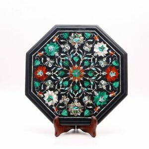 Black Marble Inlay Coffee Table Top Floral Design Side Table Perfect Home Decor
