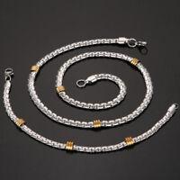 Charm Unisex's Men Punk Stainless Steel Silver Chain Link Bracelet Necklace Set