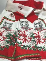 Mid Century Vintage Kitschy Christmas Half Apron Cats Kittens Jingle Bells EUC
