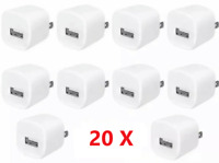 20Pack 1A USB White Power Adapter AC Home Wall Charger US Plug FOR iPhone Ipod
