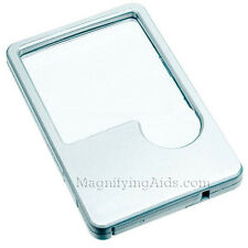 Lighted LED Wallet Magnifier Magnifying Lens - 2X With 6X Insert