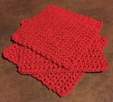 3 cotton dishcloth dish rag Handmade set /lot of 3 RED kitchen linen FREE SHIPP