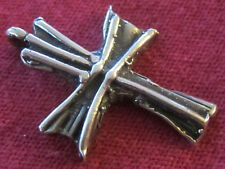 Vintage Catholic Religious Holy Medal - STERLING CROSS - Hand Crafted - UNIQUE