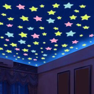 50pcs 3D Stars Glow In Dark Luminous Fluorescent Wall Sticker Home Decor Bedroom