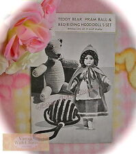 1940s Knitting Pattern For Teddy & Red Riding Hood Dolls Clothes + Crochet Ball