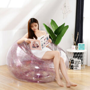 Inflatable Large Bean Bag Couch Chair Lounger Sofa Comfy Transparent Sequins