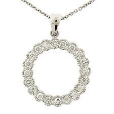 "14k White Gold 1.0ctw 17"" Round Diamond Milgrain Circle of Life Pendant Necklace"
