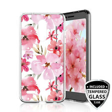 For LG Premier Pro LTE Cherry Blossom TPU Phone Case Cover+Black Tempered Glass