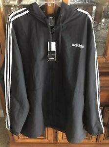 Adidas Black & White full zip hooded windbreaker jacket plus 2X NWT Polyester
