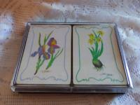 Vtg Watercolor Flowers Sun Capers Playing Cards 2 Full Deck No Jokers Bridge Set
