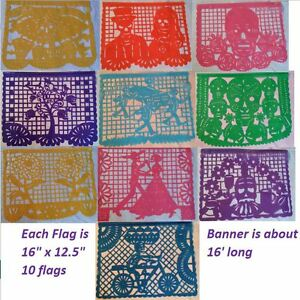 Mexican Day of the Dead Papel Picado Cutout Flags Bunting Plastico Paper Plastic