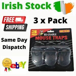 Plastic Mouse Traps Mice Trap Mousetraps Pest Control Catcher Reusable 3 Pack