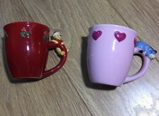 DISNEY WINNIE THE POOH & EEYORE 3D CHRISTMAS MUGS PINK RED HOLLY HIS/HERS XMAS