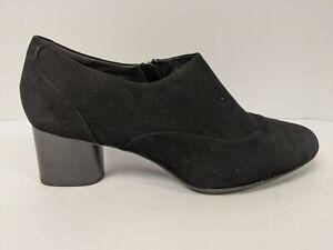 Clarks Suede Block Heel Shoe, Black, Women's 11 Wide