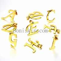 A-Z Initial Letter Alphabet Pendant Charm Necklace Gold Tone Stainless Steel