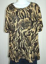 Delta Burke Collection SG 1X Brown Black Short Sleeve Shimmer Blouse Top EUC