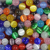 Wholesale! 50/100/200pcs Mixed Fiber Optic Glass Cat's Eye Round Beads 6mm,8mm
