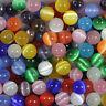 Wholesale! 50/100/200pcs Mixed Fiber Optic Glass Cat's Eye Round Beads 6mm,8mm