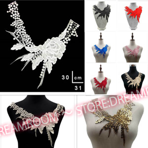B244 Lace Applique Fabric Sewing Embellishments Trims Neck Collar Craft Decors