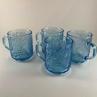 Vintage KIG Indonesia Blue Glass Mugs Raised Fruit Set of 4