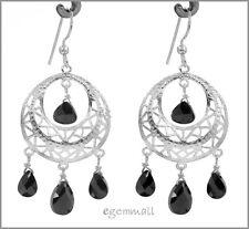 925 Silver Dangle Chandelier Earrings CZ Black #53047