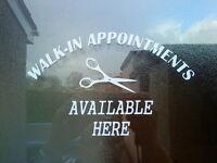 walk in appointments shop window doors sign hair salon stylists barber sticker