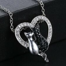 Fashion Charm Silver Cat Rhinestone Heart Pendant Chain Necklace Prom Jewellery