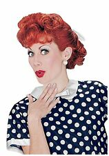 I Love Lucy Wig Henna Red Synthetic Hair Curly Costume Wig