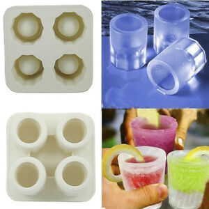 4 Cup Summer  Shot Glass Mold Cool  Ice Cube Tray Dishwasher Plasticf