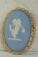 VINTAGE VAN DELL WEDGWOOD GOLD FILLED NYMPH FAIRY PIN PENDANT NECKLACE