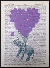 Imagen De Elefante Estampado Estilo Vintage Amor Corazón Diccionario libro página Pared Arte Púrpura