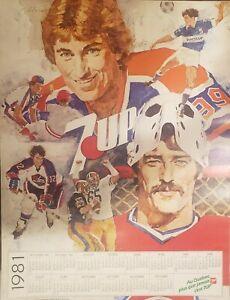 VINTAGE POSTER~1981 7UP Wayne Gretzky/Gary Carter NHL/CFL/MLB/MLS Jets/Canadiens