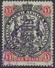 Rhodesia 1897 £ 1 una libra negro y rojo-pardo en Verde SG 73 Perfin fiscalmente Usado