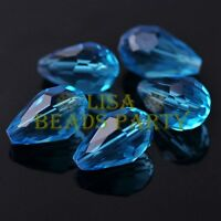 New 10pcs 18X12mm Big Teardrop Faceted Spacer Loose Glass Beads Lake Blue