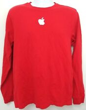 EMBROIDERED APPLE LOGO SHIRT LONG SLEEVE RED EMPLOYEE LARGE