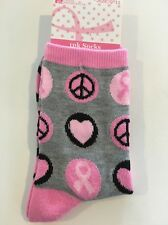 1 Pair Breast Cancer Awareness Pink Ribbon Socks size 9-11. NEW Women's