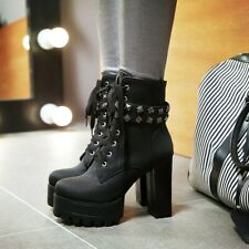 Womens Winter Punk Rock Rivets Ankle Boots Lace Up Block Heels Round Toe Shoes