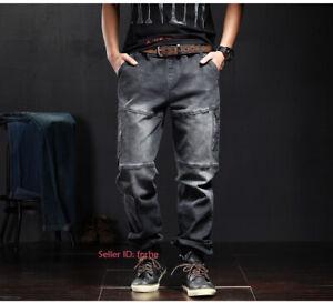 Men's Casual Jeans Tactical Cargo Pants Denim Multi-pockets Straight Leg Trouser
