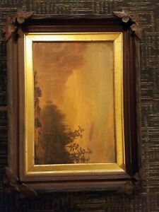 Antique Sanderson And Thorne Carved Wood Frame/ 1868/ Prangs/lithograph/sunset