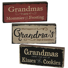 Set/3~Grandma Inspirational Country Block Signs Rustic Distressed Great Gift