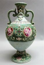 Fine Antique JAPANESE MEIJI-ERA SATSUMA Moriage Vase w/ Flowers c. 1900  antique