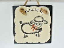 """Lamb Sheep Welcome Wall Tile Hand Painted Door Sign Hanging Slate Tile 5 5/8""""sq."""
