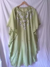 Womens Plus Size Vintage Green Embroidered Caftan Maxi Dress Xl/1X