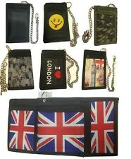 Wallet ID Card, Credit Card Holder Union Jack Trifold Wallet With Security Chain