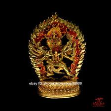 Tibet Buddhism Mahakala Yum-yab Phurba King Buddha Bronze 24K Gold Statue 23cm