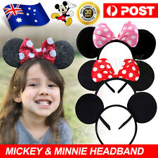 MICKEY MINNIE MOUSE EARS HEADBAND COSTUME Bow Fancy Dress Party Unisex