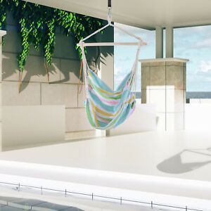 Outsunny Outdoor Hanging Rope Chair Garden Swing Hammock w/ Cotton Cloth Green