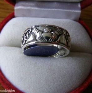 IRISH CLADDAGH WEDDING RING ~ inc half size sterling silver CELTIC - Peter Stone